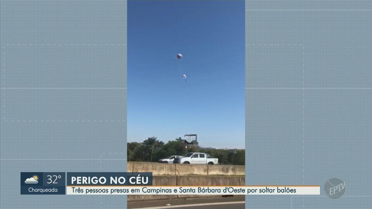 Três são presos com balões na região de Campinas