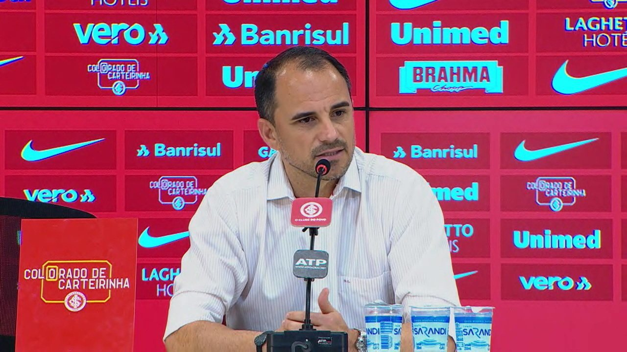 Veja entrevista do Rodrigo Caetano após empate do Internacional com o Santos pelo Brasileirão