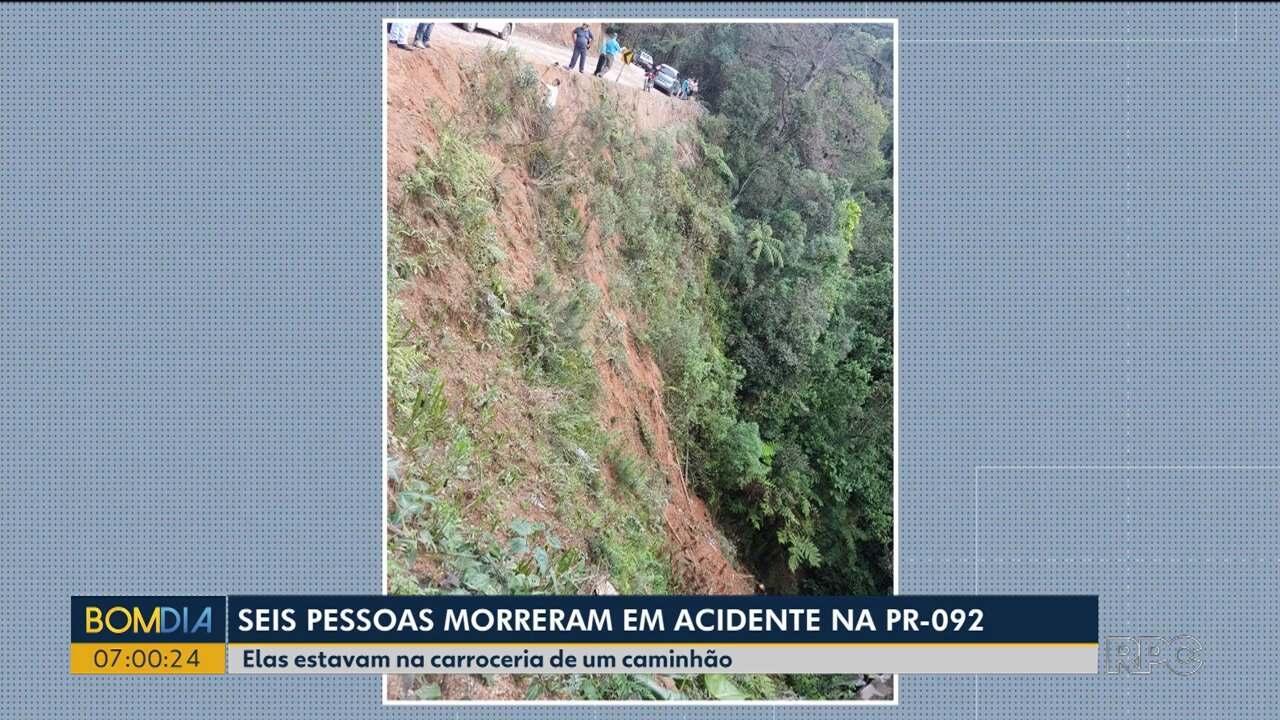 Seis pessoas morreram em acidente na PR-092