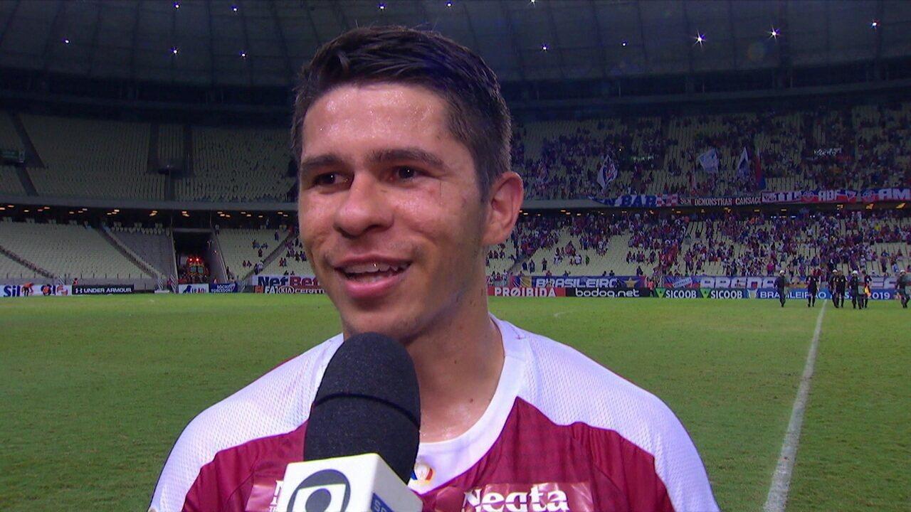 """Responsável por um dos gols do Fortaleza, Osvaldo comemora vitória: """"Hoje conseguimos"""""""