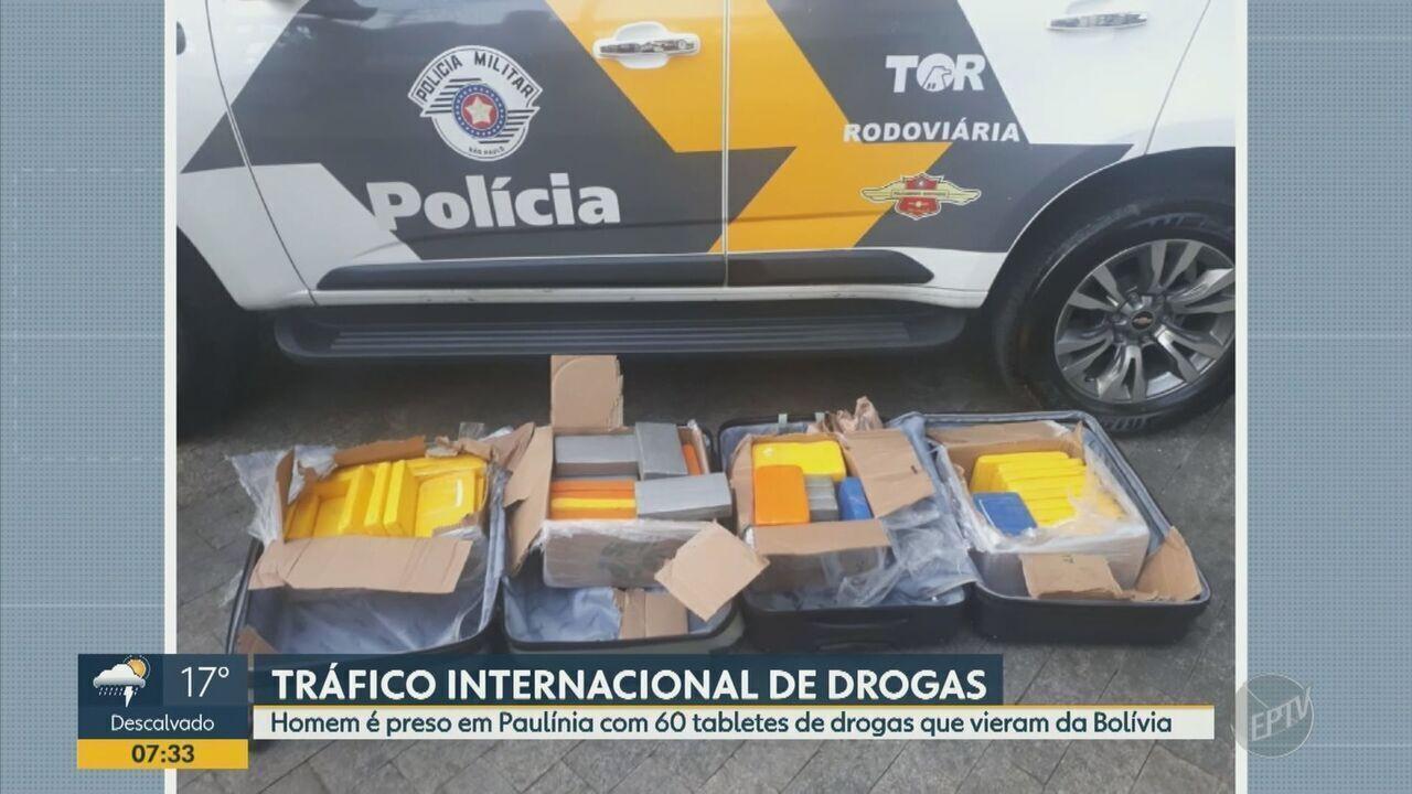 Homem é preso em Paulínia com 60 tabletes de drogas que vieram da Bolívia
