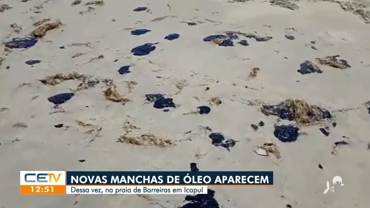 Novas manchas de óleo aparecem na Praia de Barreiras, em Icapuí