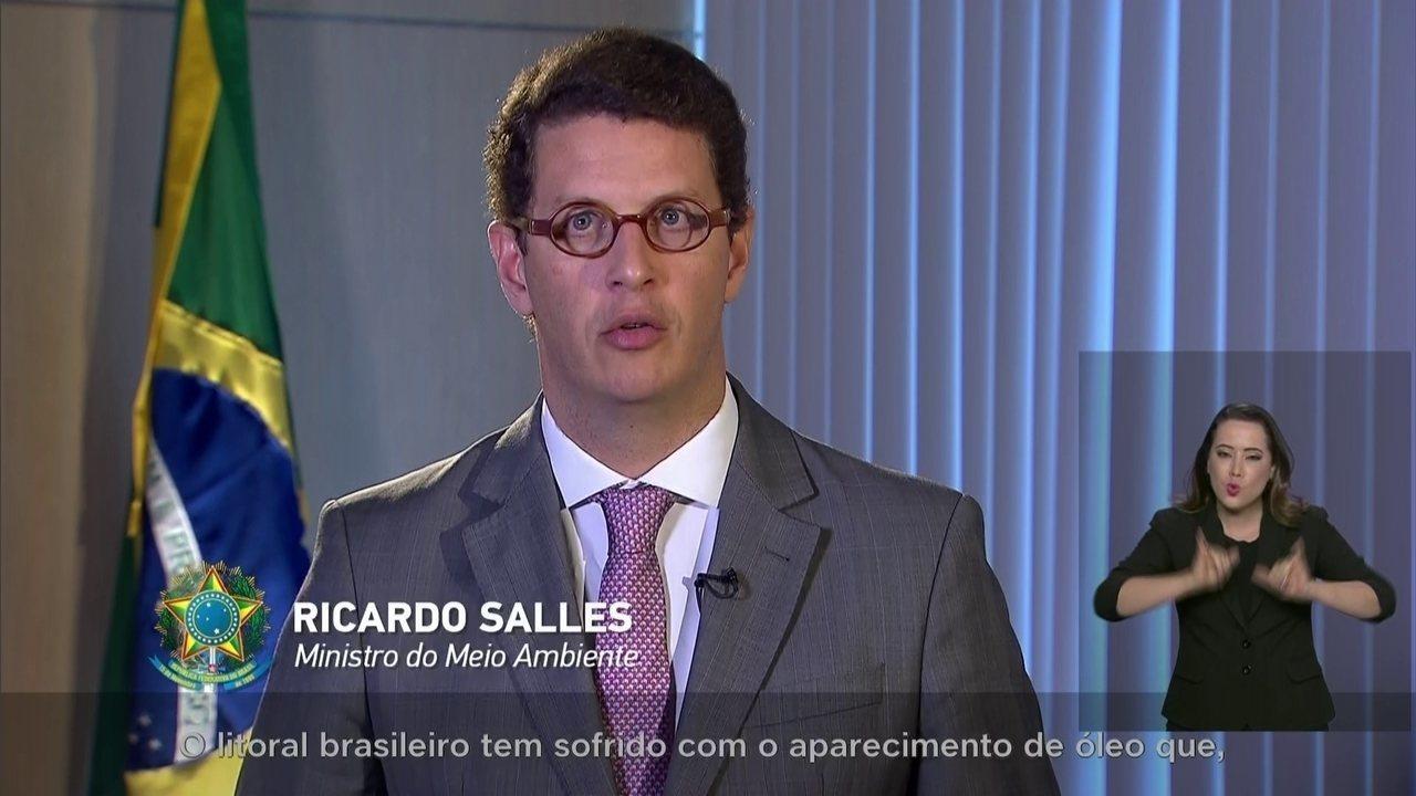 Pronunciamento do ministro Ricardo Salles sobre as manchas de óleo no Nordeste