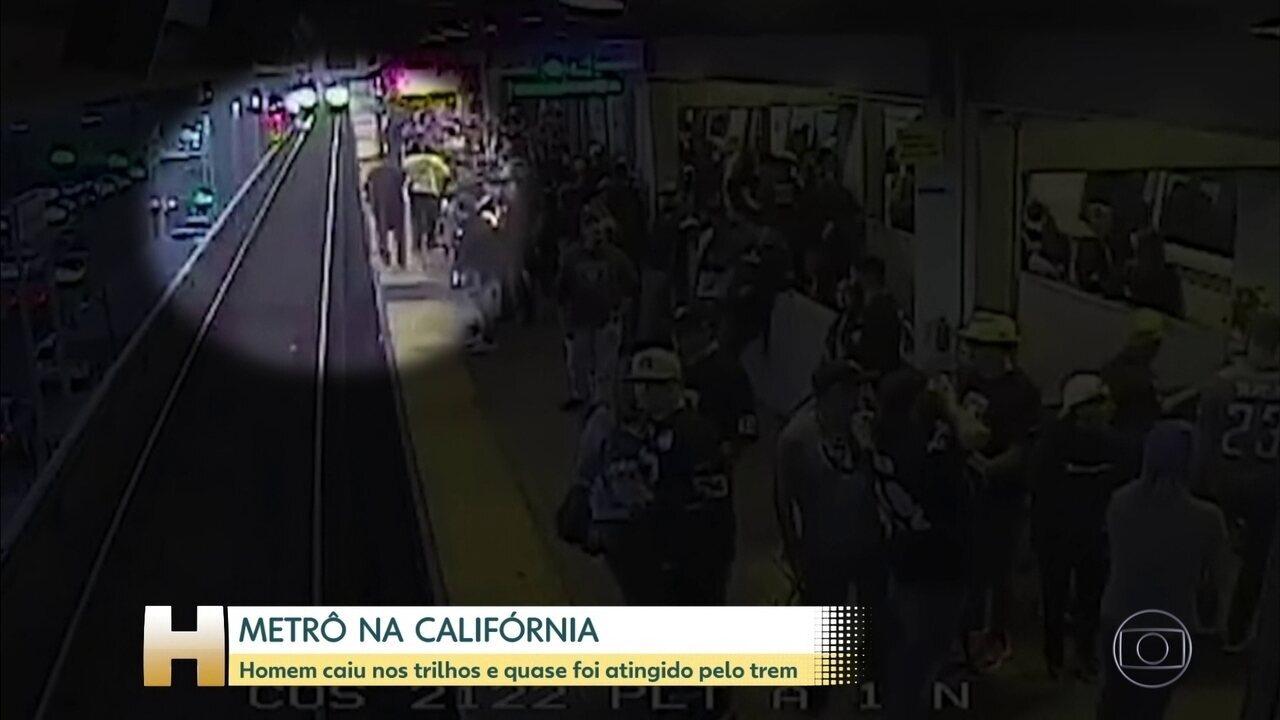 Passageiro cai em trilhos do metrô
