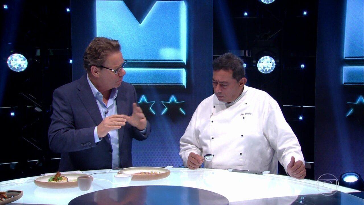 Claude Troisgros experimenta os pratos do time Avillez