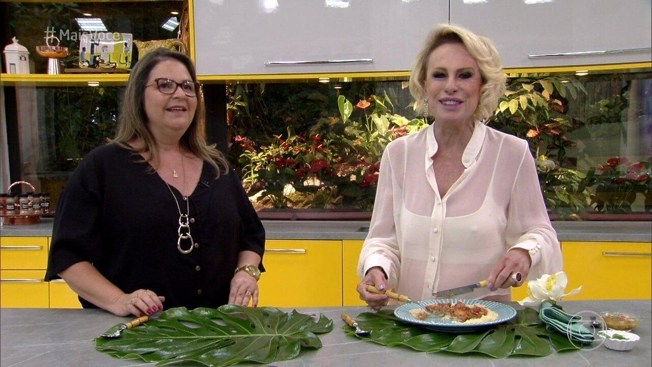 Ana Maria e o chef Gustavo Rinkevich experimentam o prato principal de Simone