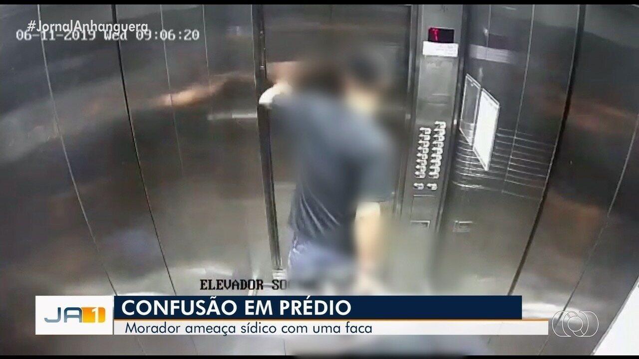 Síndico de condomínio é ameaçado com uma faca por um morador em Goiás