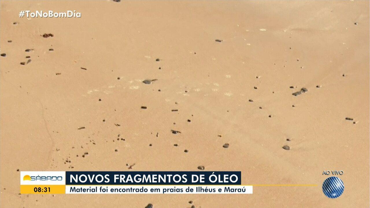 Novos fragmentos de óleo chegam às praias de Ilhéus e Maraú