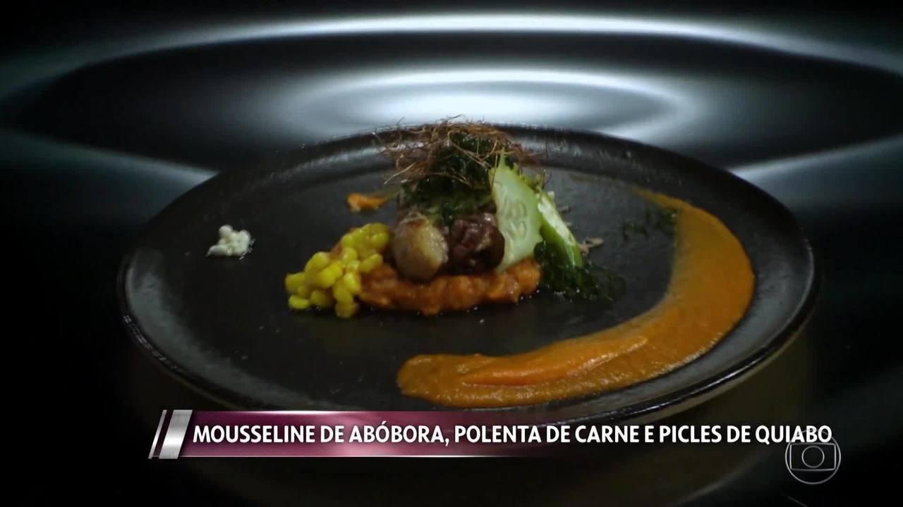 Mousseline de Abóbora, Polenta de Panela e Picles de Quiabo da Seichele Barboza