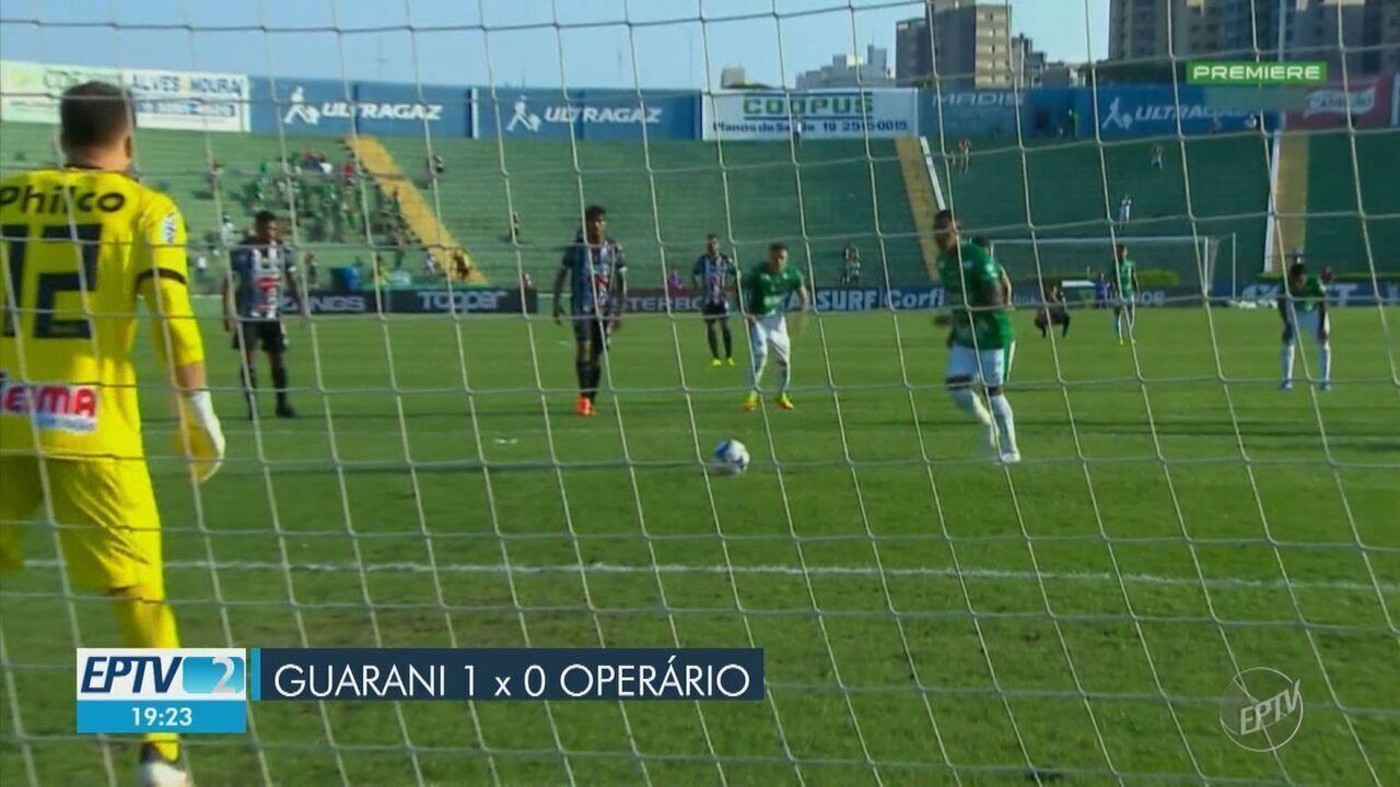 Guarani vence Operário e se garante na Série B