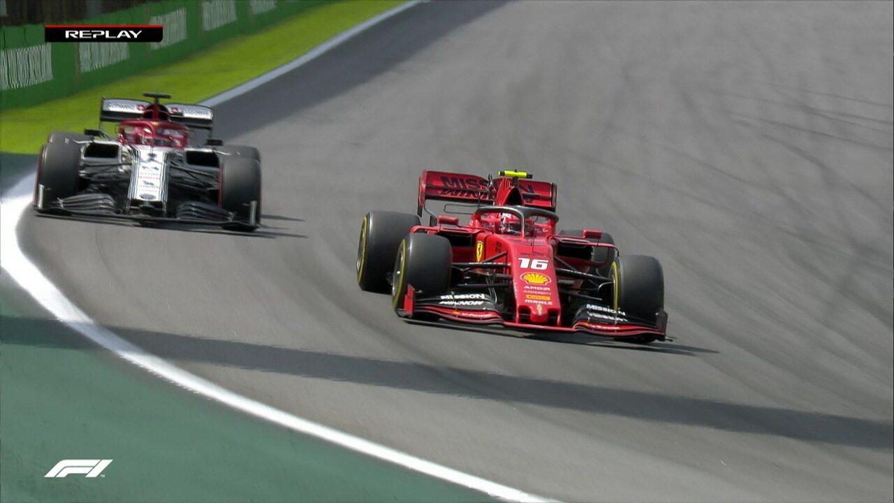 Charles Leclerc passa Raikkonen e assume a sétima colocação em Interlagos