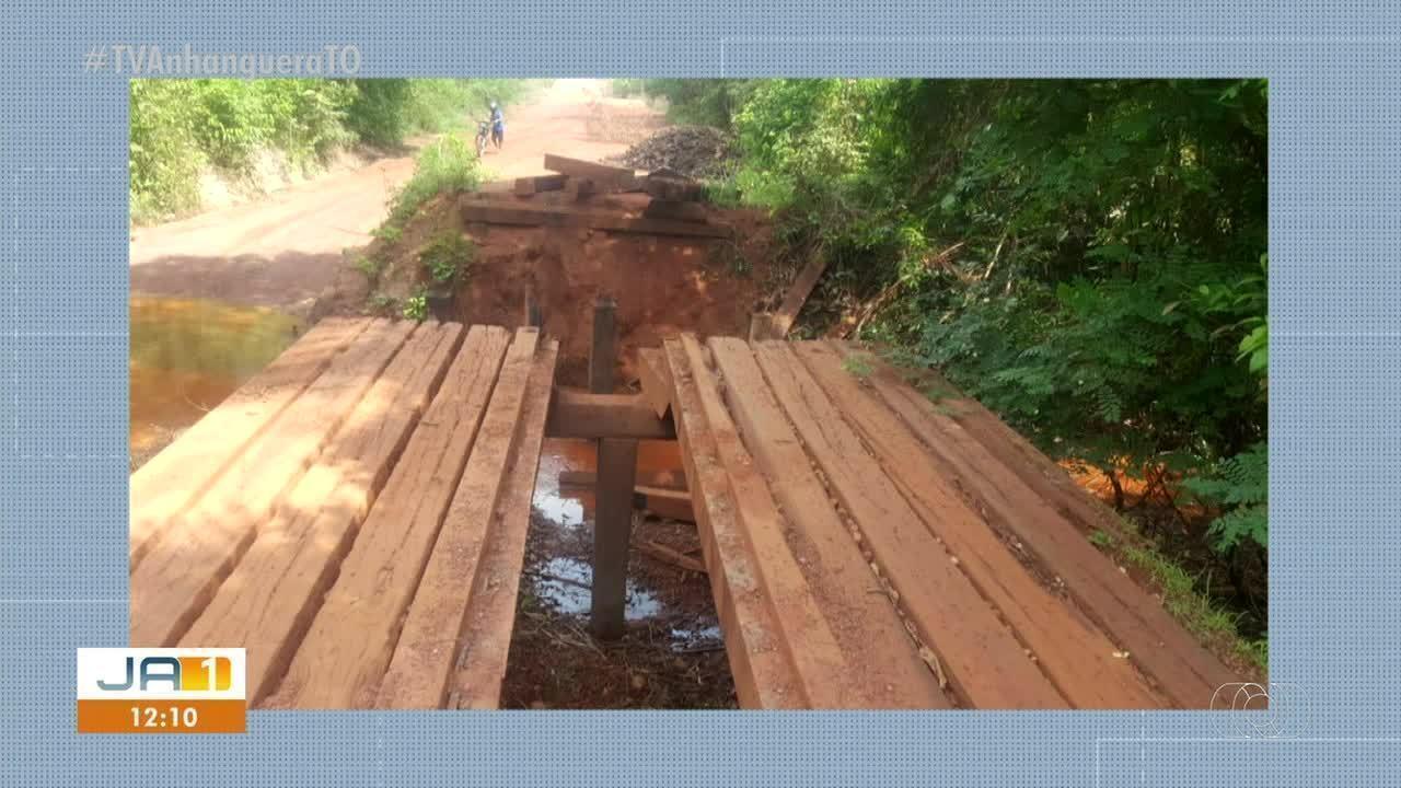 Ponte precária sobre córrego em Pium prejudica moradores da região