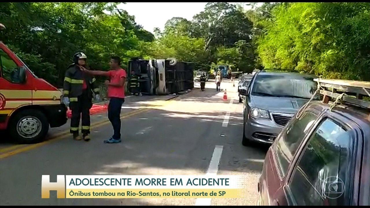 Adolescente morre em acidente de ônibus na Rodovia Rio-Santos (SP)