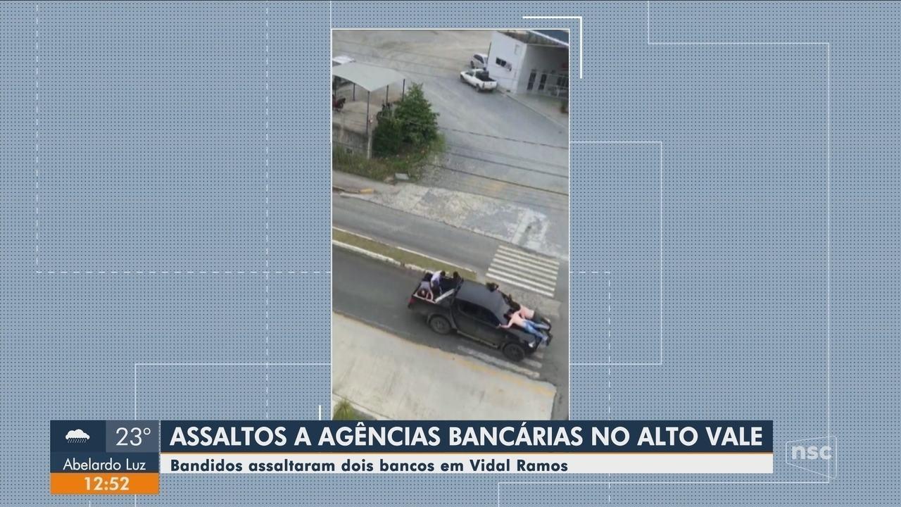 Criminosos assaltam duas agências bancárias em Vidal Ramos