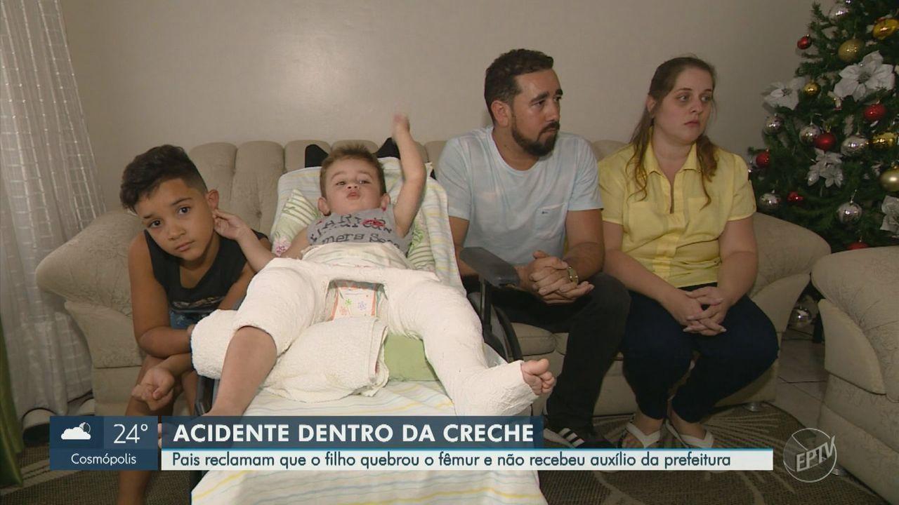 Após acidente em creche, pais reclamam que filho quebrou o fêmur e não recebeu auxílio