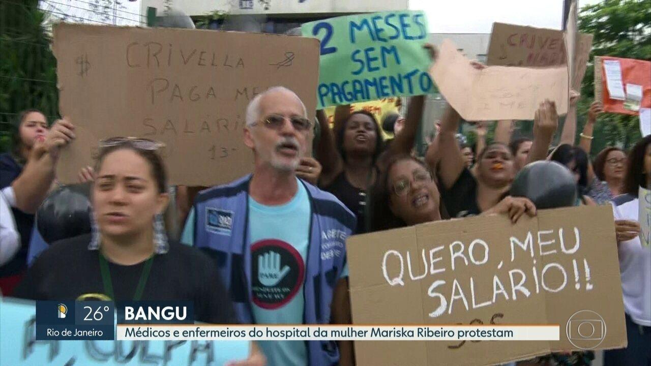 Profissionais da saúde fazem protesto em Bangu