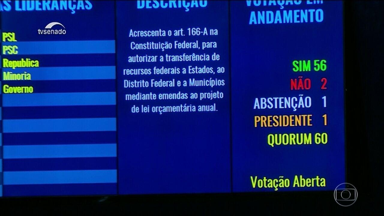 Senado aprova proposta que muda as regras de repasse das emendas de parlamentares