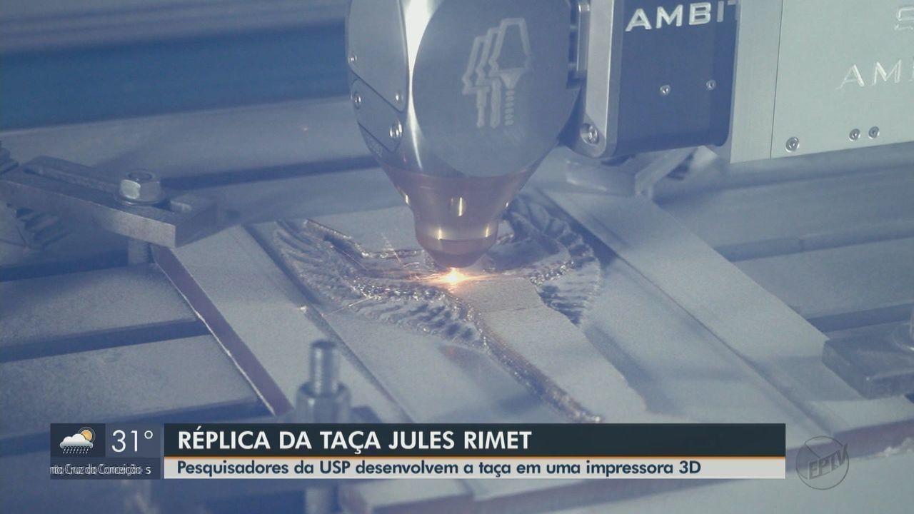 Pesquisadores da USP produzem réplica da taça Jules Rimet em impressora 3D que funde aço