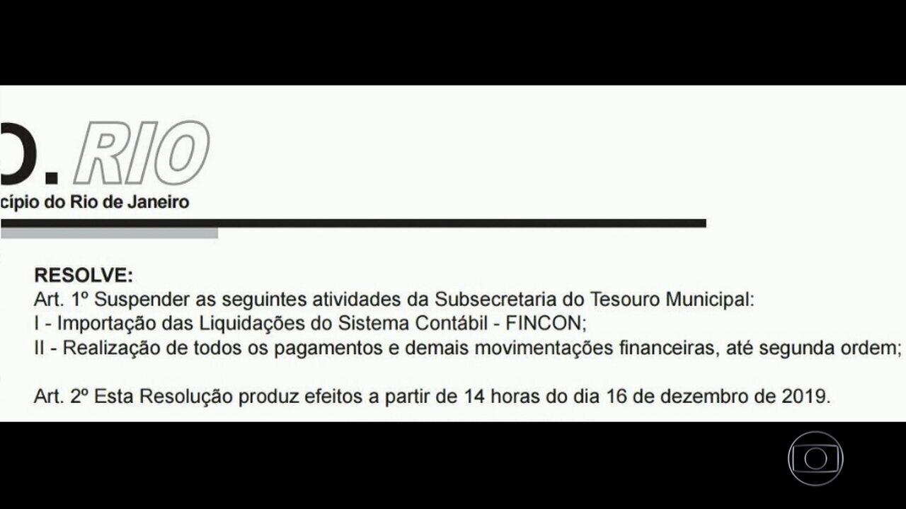 Resolução determina suspensão das atividades da Subsecretaria de Tesouro Municipal do Rio