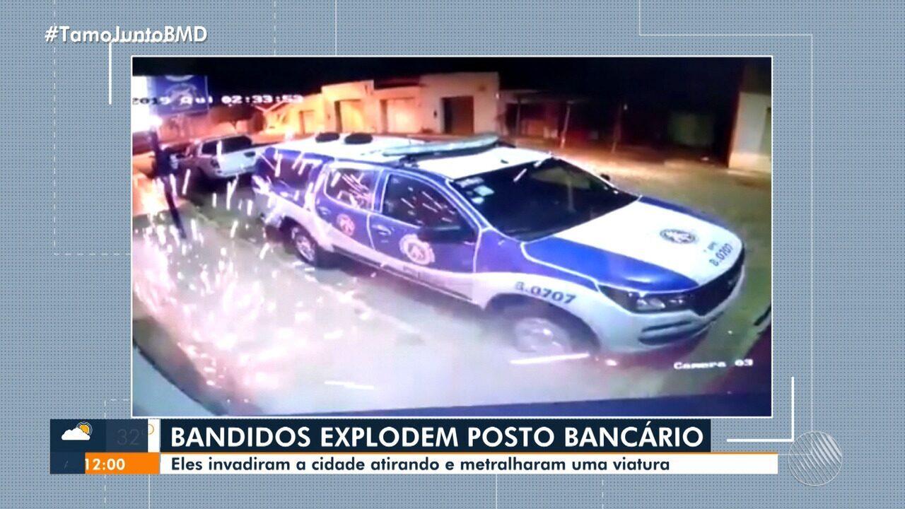 Câmeras de segurança registram ataque a posto bancário e quartel da PM; veja as imagens