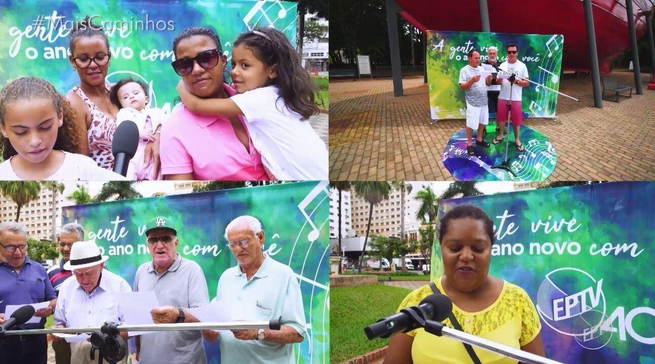 Público das cidades da região cantam a mensagem de fim de ano da EPTV