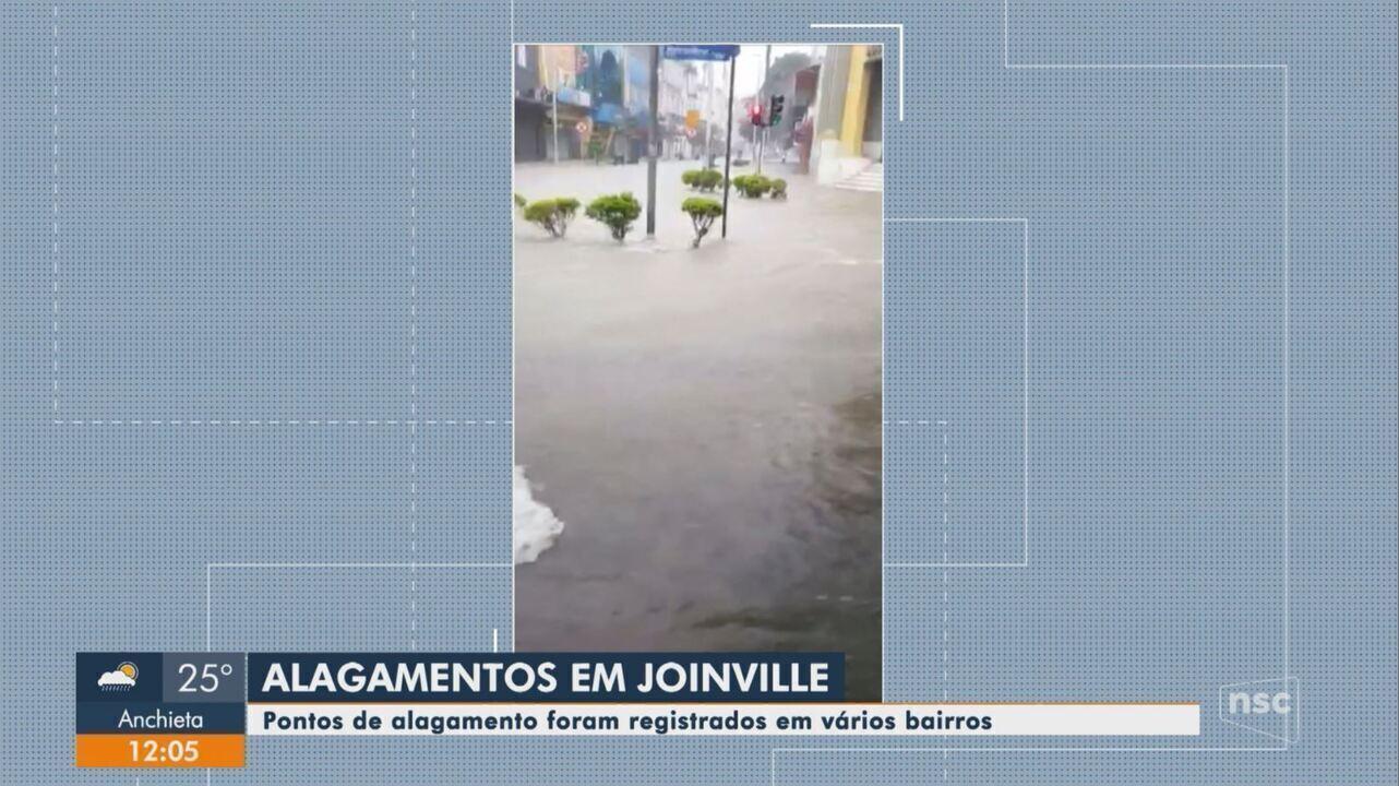 Chuva causa transtornos e alagamentos em ruas de Joinville