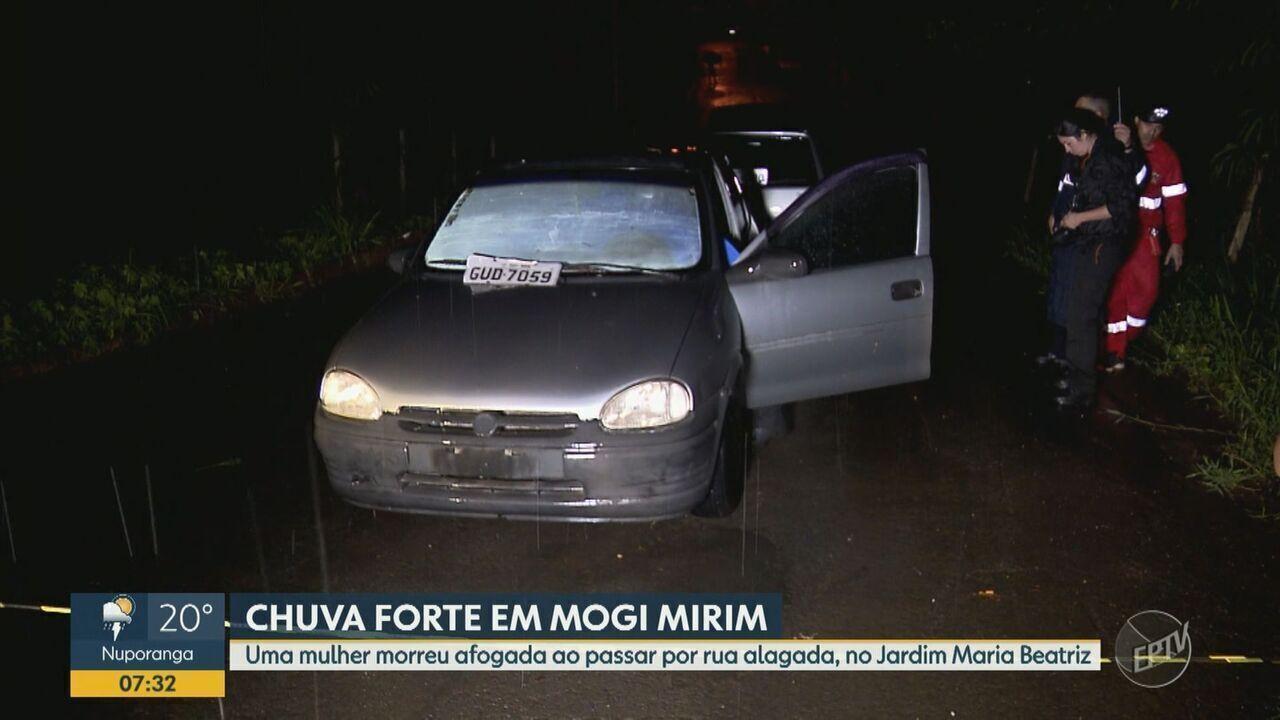 Idosa morre após carro ser arrastado durante enchente em Mogi Mirim