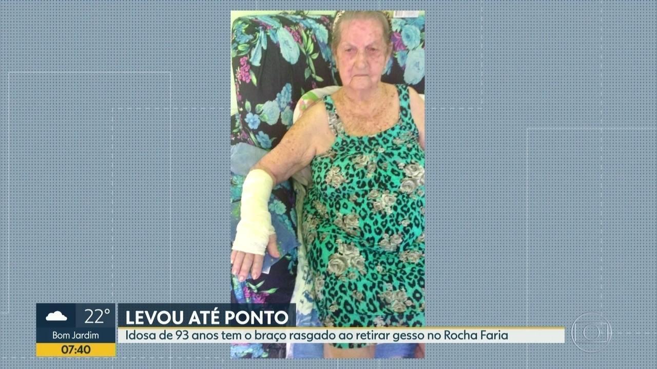 Idosa de 93 anos tem o braço rasgado ao retirar gesso no Hospital Rocha Faria