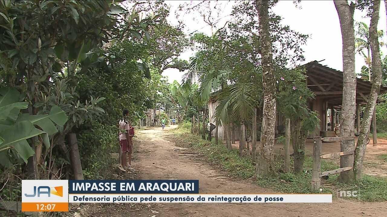 Defensoria pública pede suspensão da reintegração de posse em Araquari