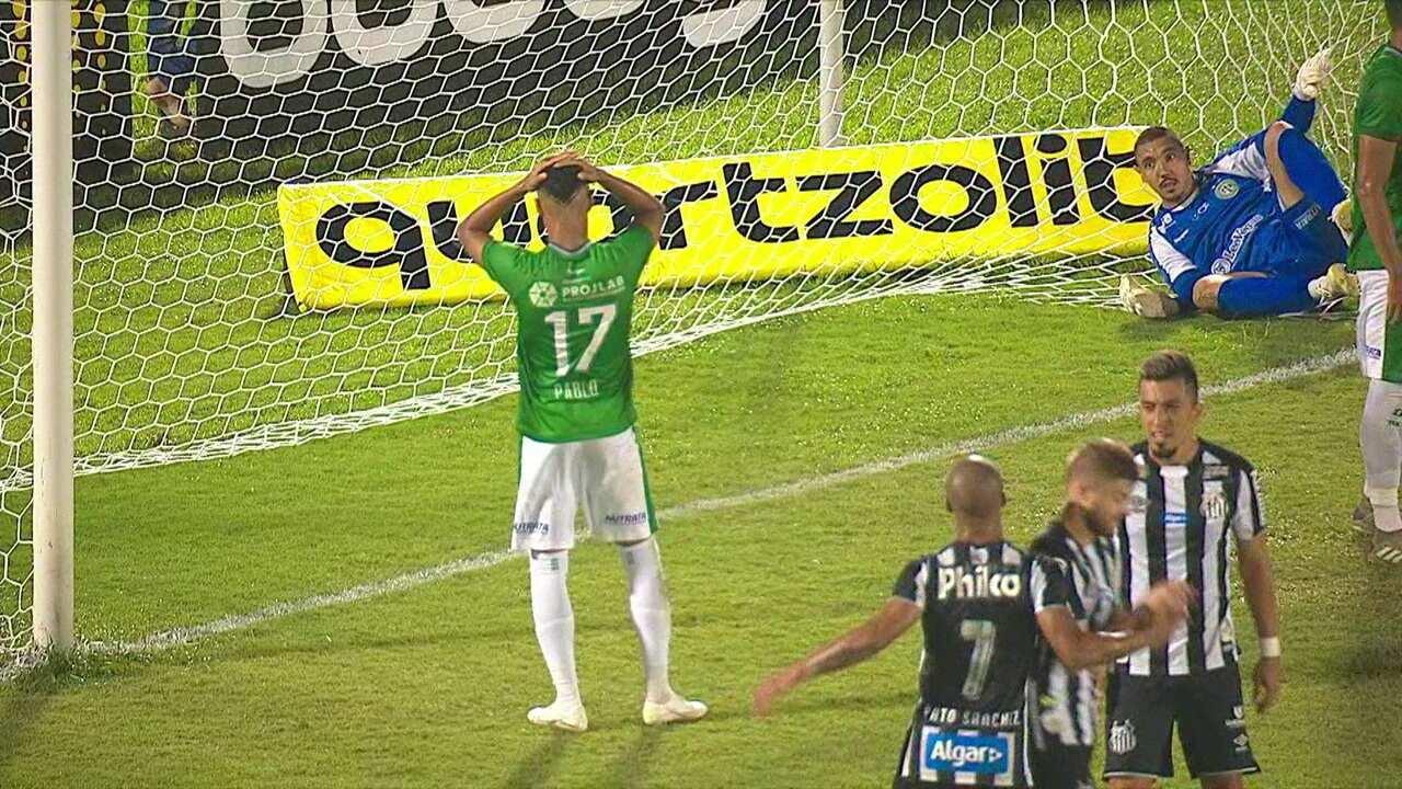 Os gols de Guarani 1 x 2 Santos pela 2ª rodada do Campeonato Paulista