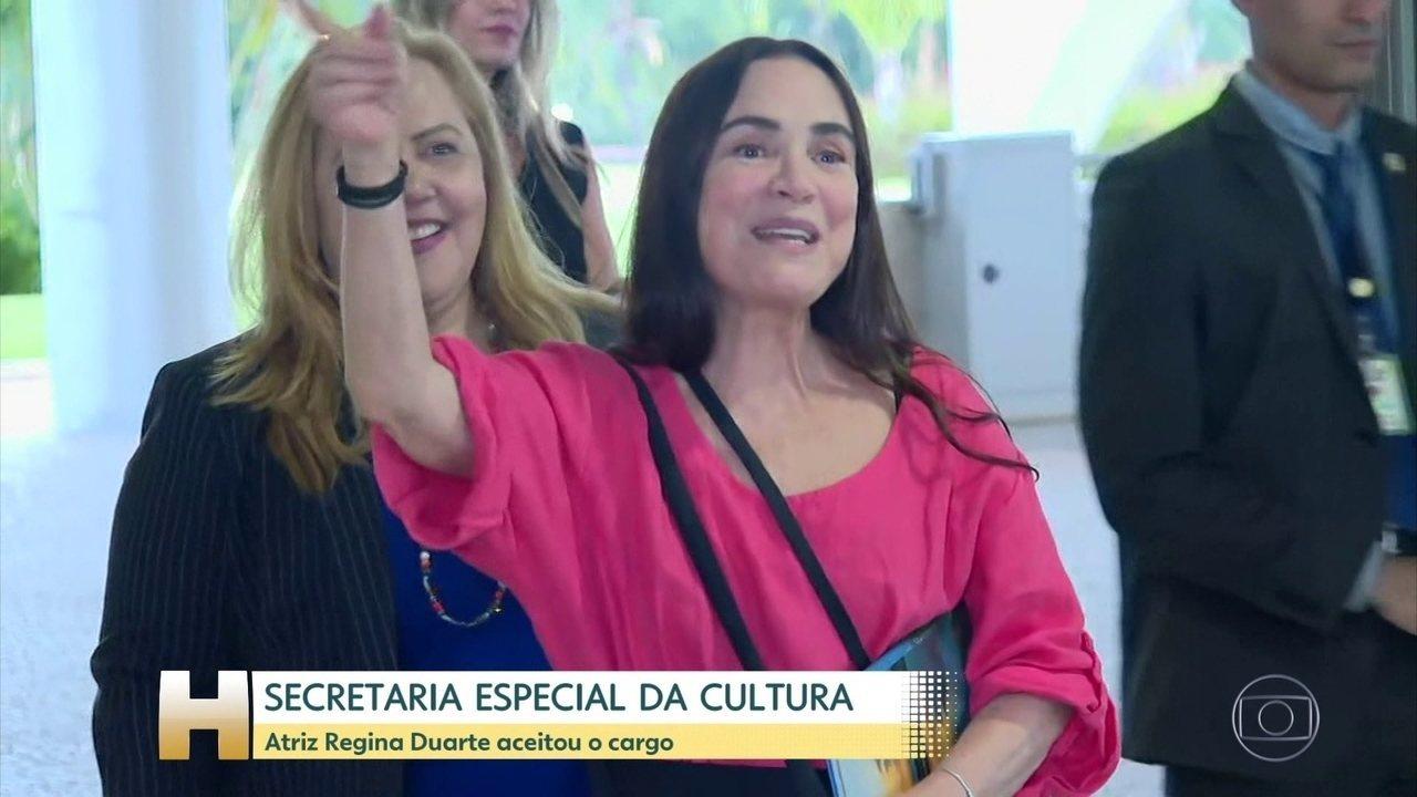 Atriz Regina Duarte aceita assumir a Cultura, mas nomeação não tem data