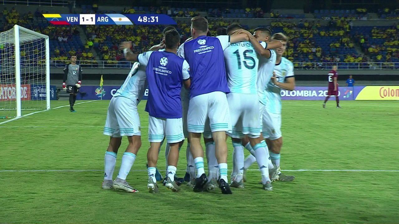 Os gols de Venezuela 1 x 4 Argentina pelo Pré-Olímpico Sub-23