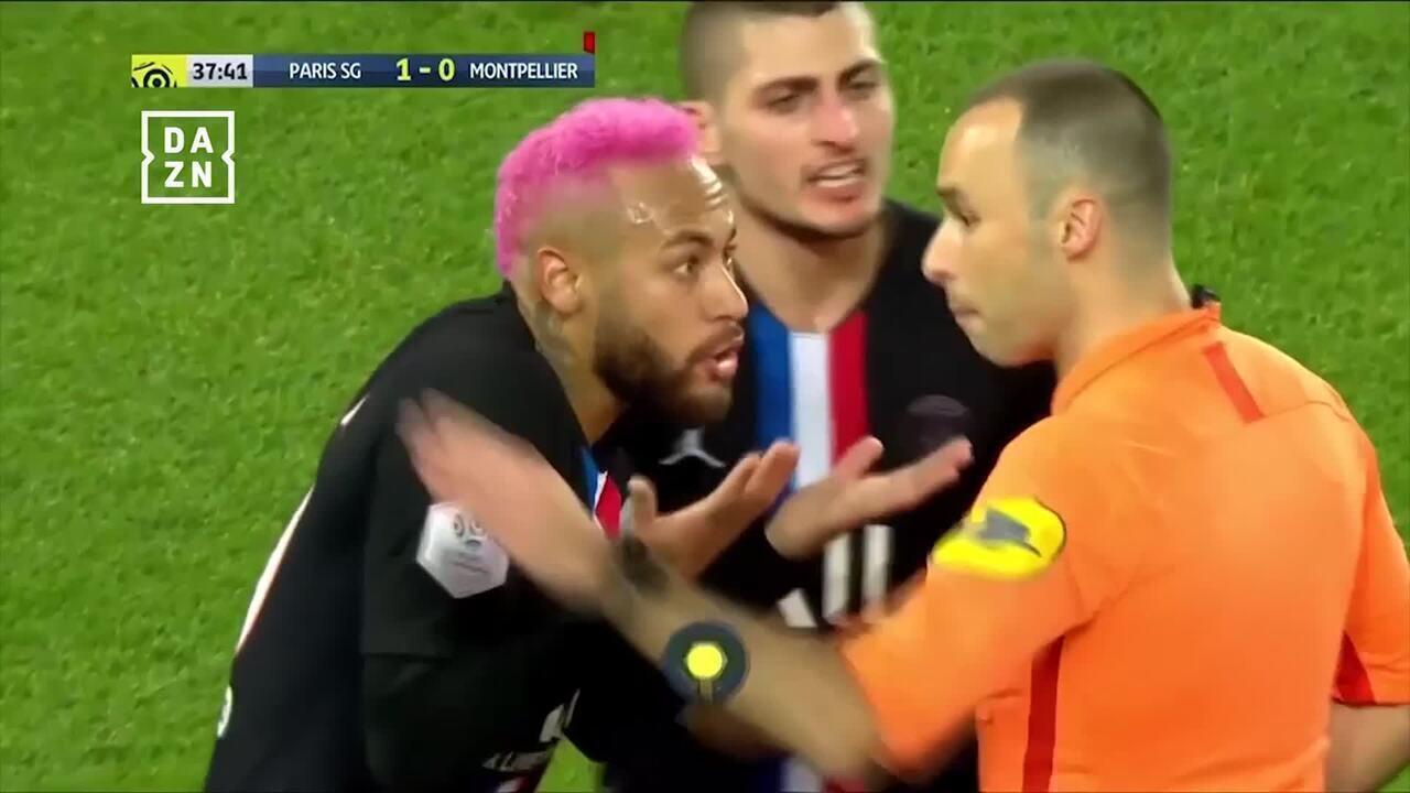 Neymar discute com árbitro e leva amarelo após lambreta