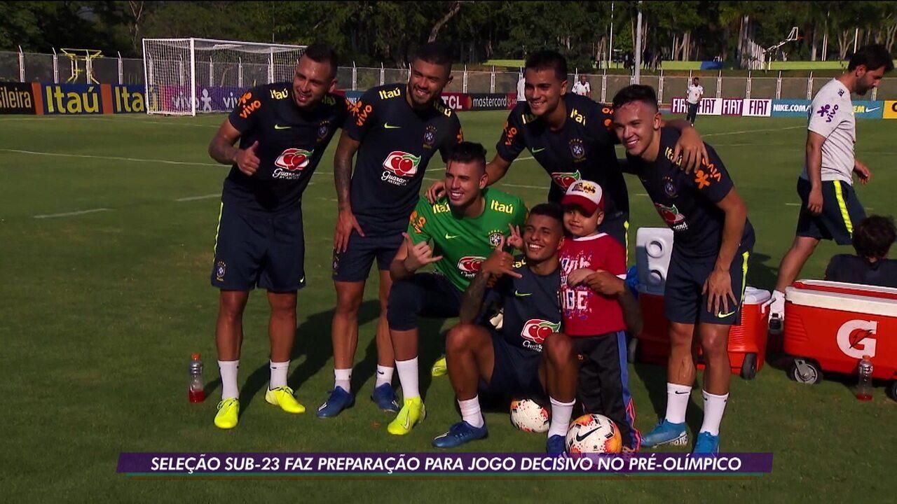 Seleção sub-23 faz preparação para jogo decisivo no pré-olímpico