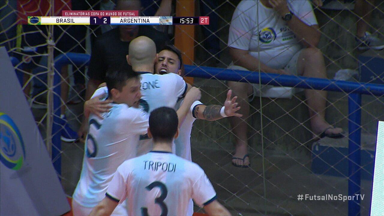 Os gols de Brasil 1 x 3 Argentina pela final da Eliminatória do Mundial de Futsal
