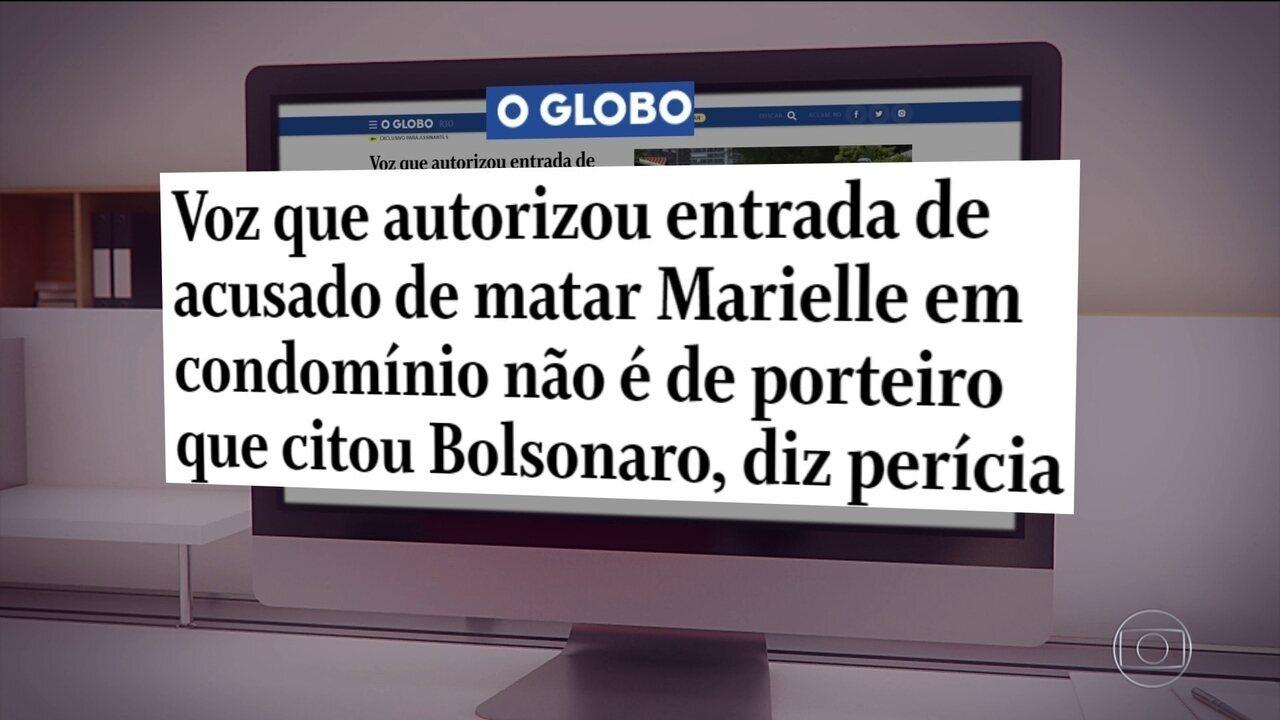 Caso Marielle: laudo conclui que voz não é de porteiro que citou Bolsonaro