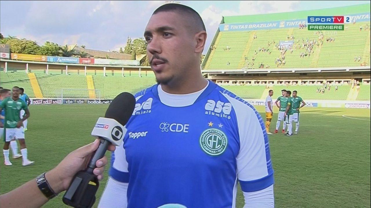 Jefferson Paulino, do Guarani, concede entrevista após o termino da partida