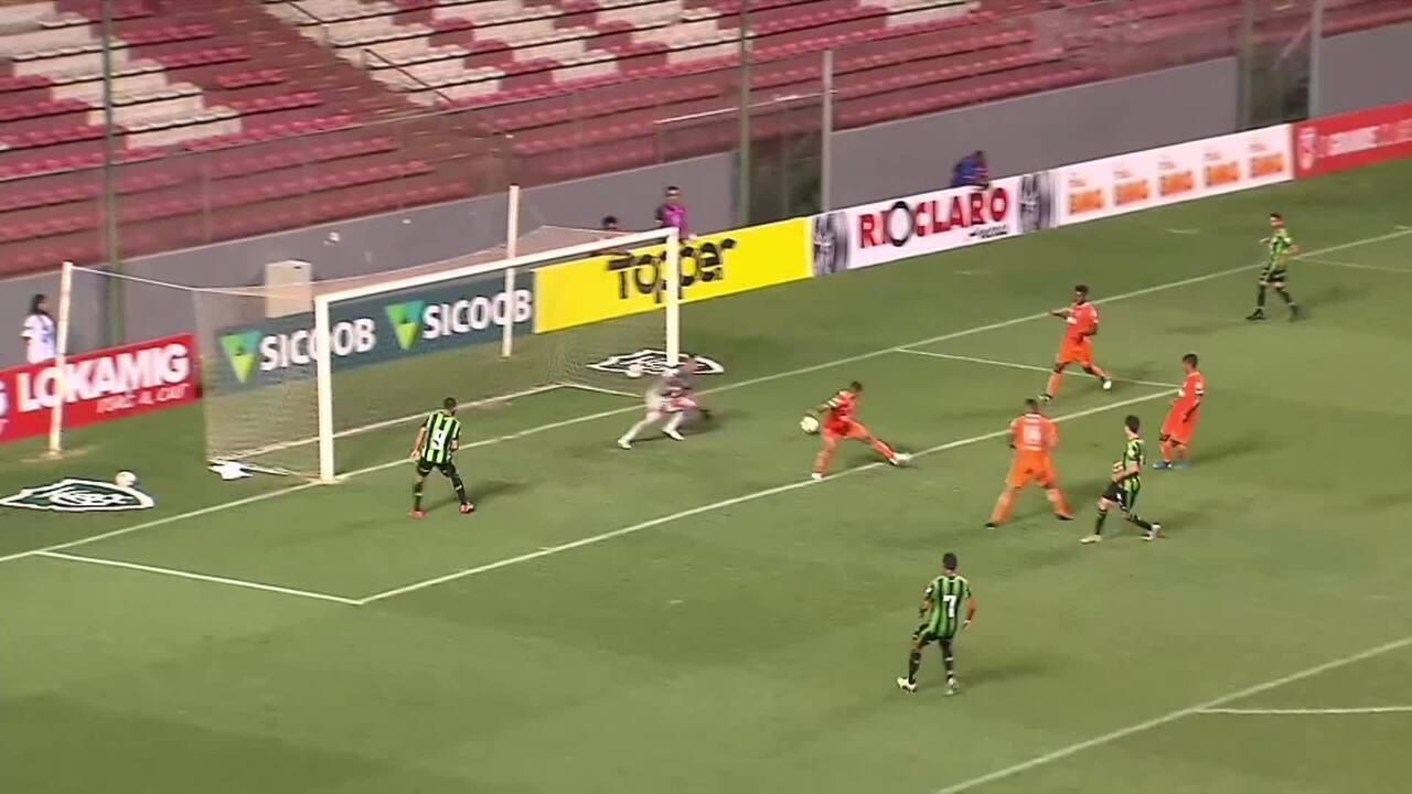 Os gols de Coimbra 0 x 2 América-MG, pelo Campeonato Mineiro