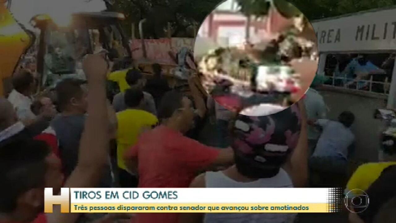 Três pessoas dispararam contra Cid Gomes, que avançou sobre amotinados