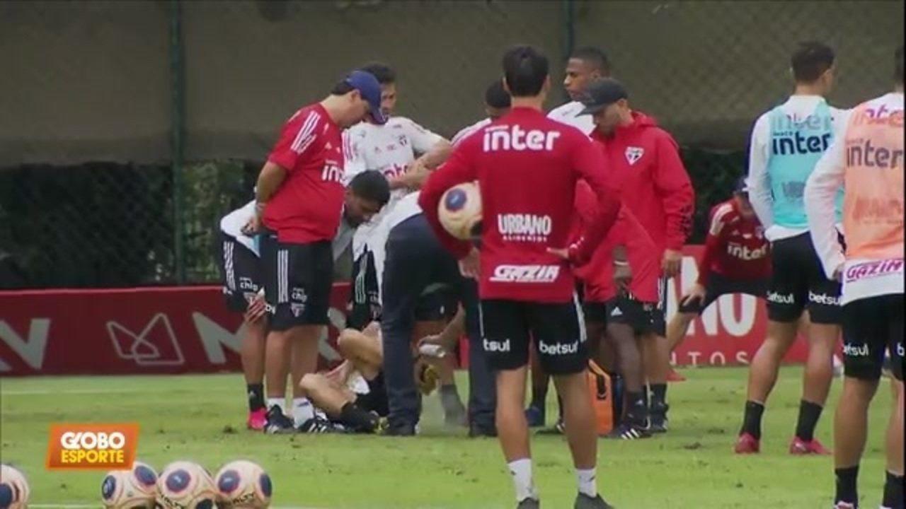Veja o momento em que Antony se machuca no treino do São Paulo