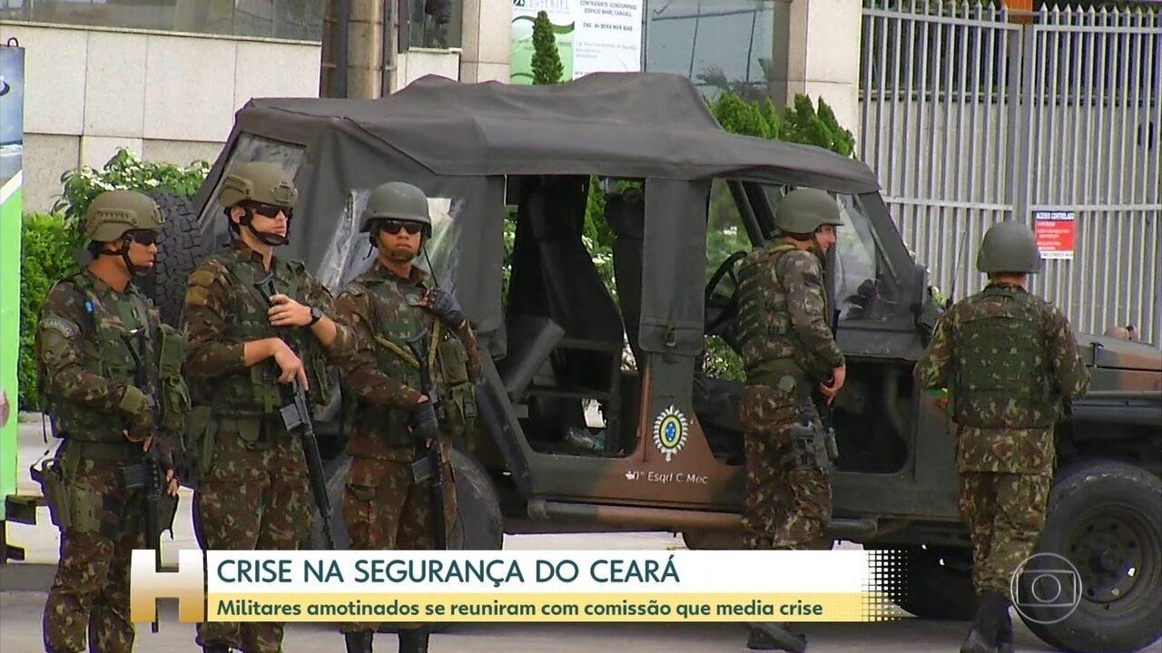 Militares amotinados se reuniram hoje com comissão que intermedeia a crise da segurança