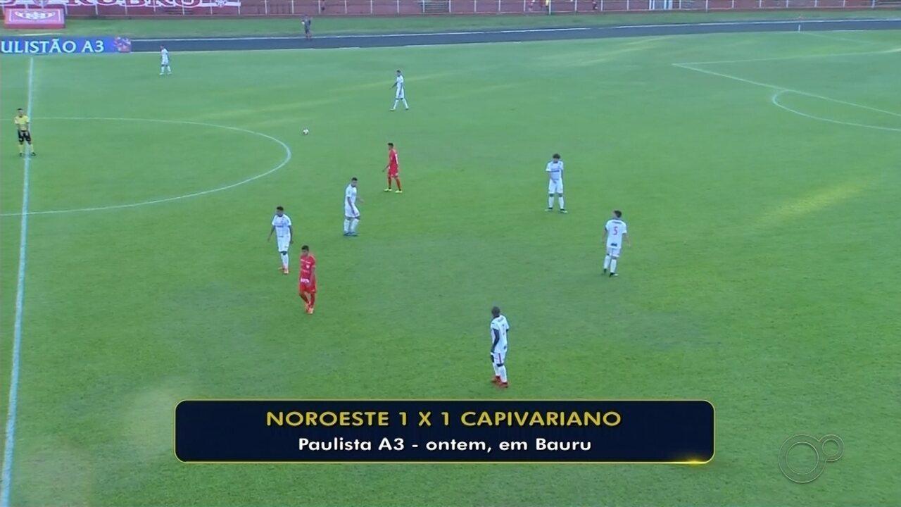 Noroeste sofre primeiro gol em casa na Série A3 e empata com Capivariano