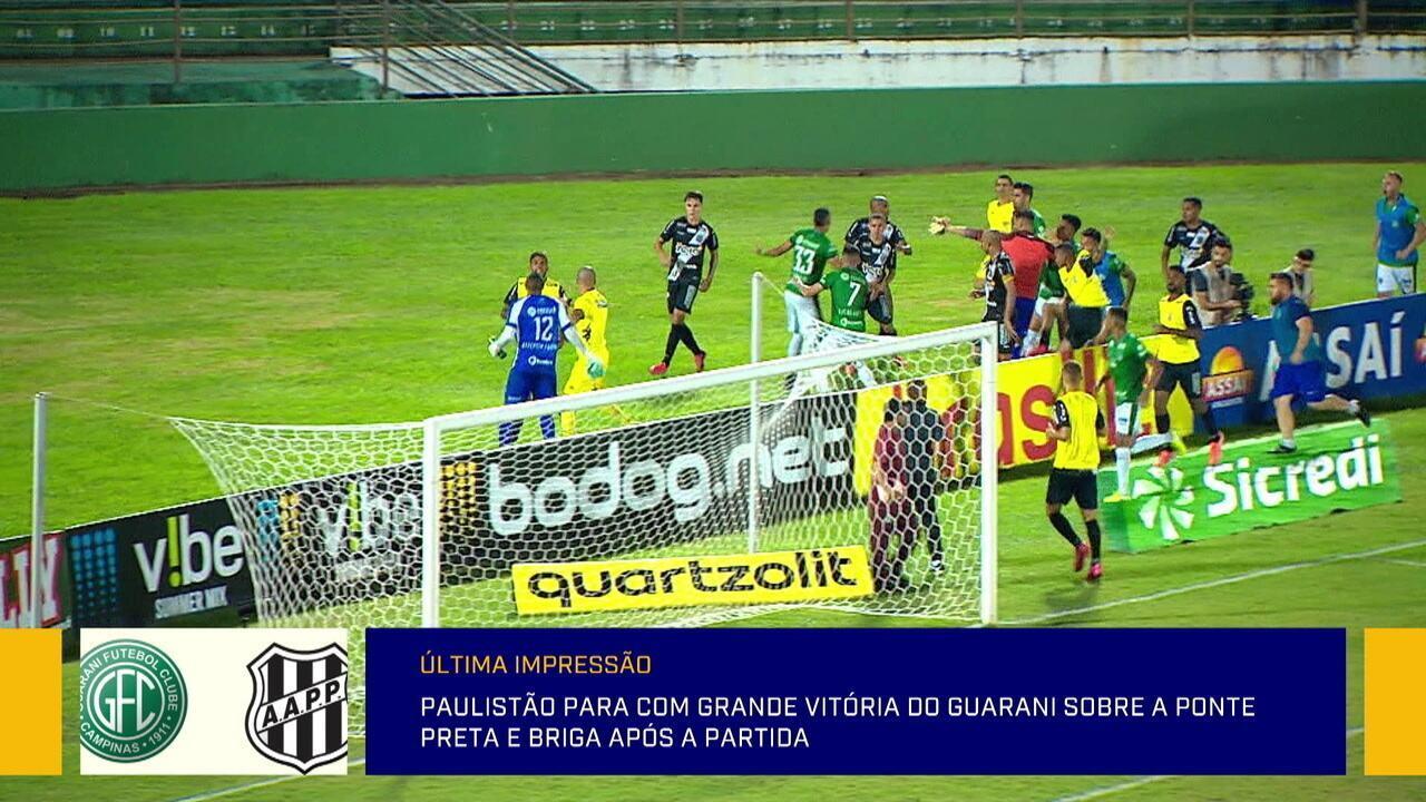 Último jogo antes da paralisação do Paulista termina em confusão entre Guarani e Ponte Preta