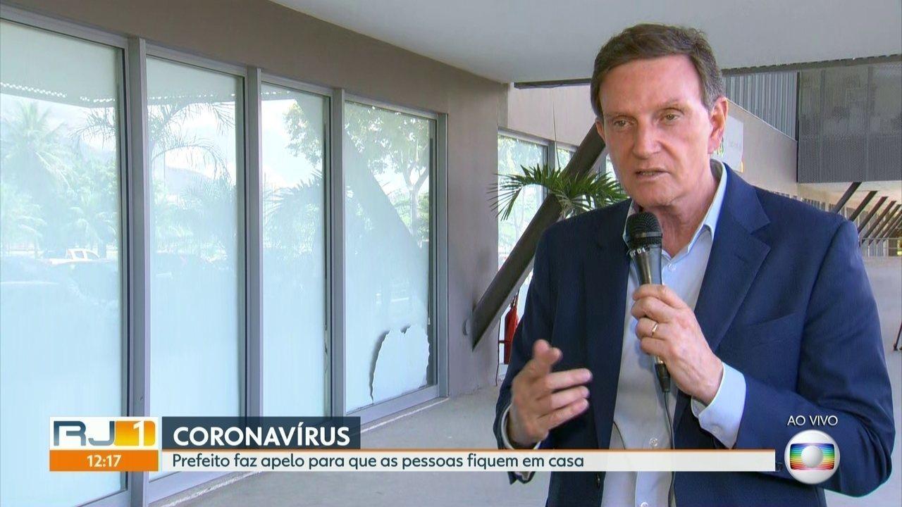 Prefeito do Rio também fez apelo para que pessoas fiquem em casa para evitar contaminação pela Covid-19