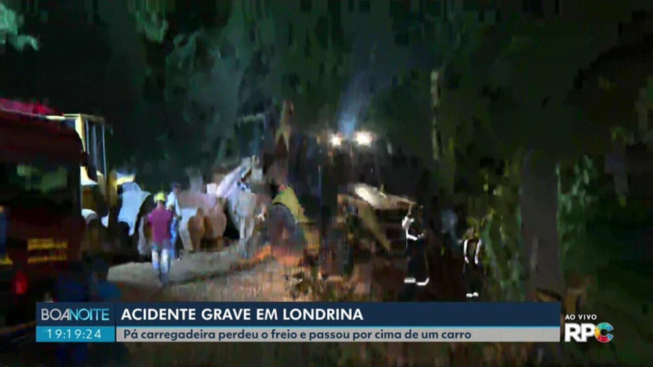 Acidente com pá carregadeira deixa uma vítima fatal e duas pessoas feridas, em Londrina