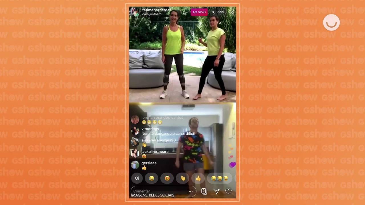 Fatima Bernardes faz live mostrando série de exercícios em casa