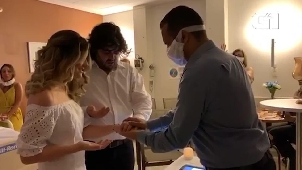 Noiva se casa em hospital de SP para pai em fase terminal poder acompanhar