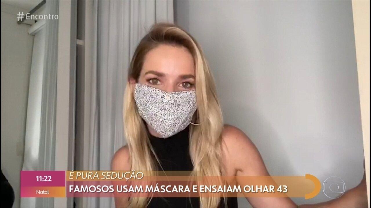 Famosos ensaiam o 'Olhar 43' de máscara