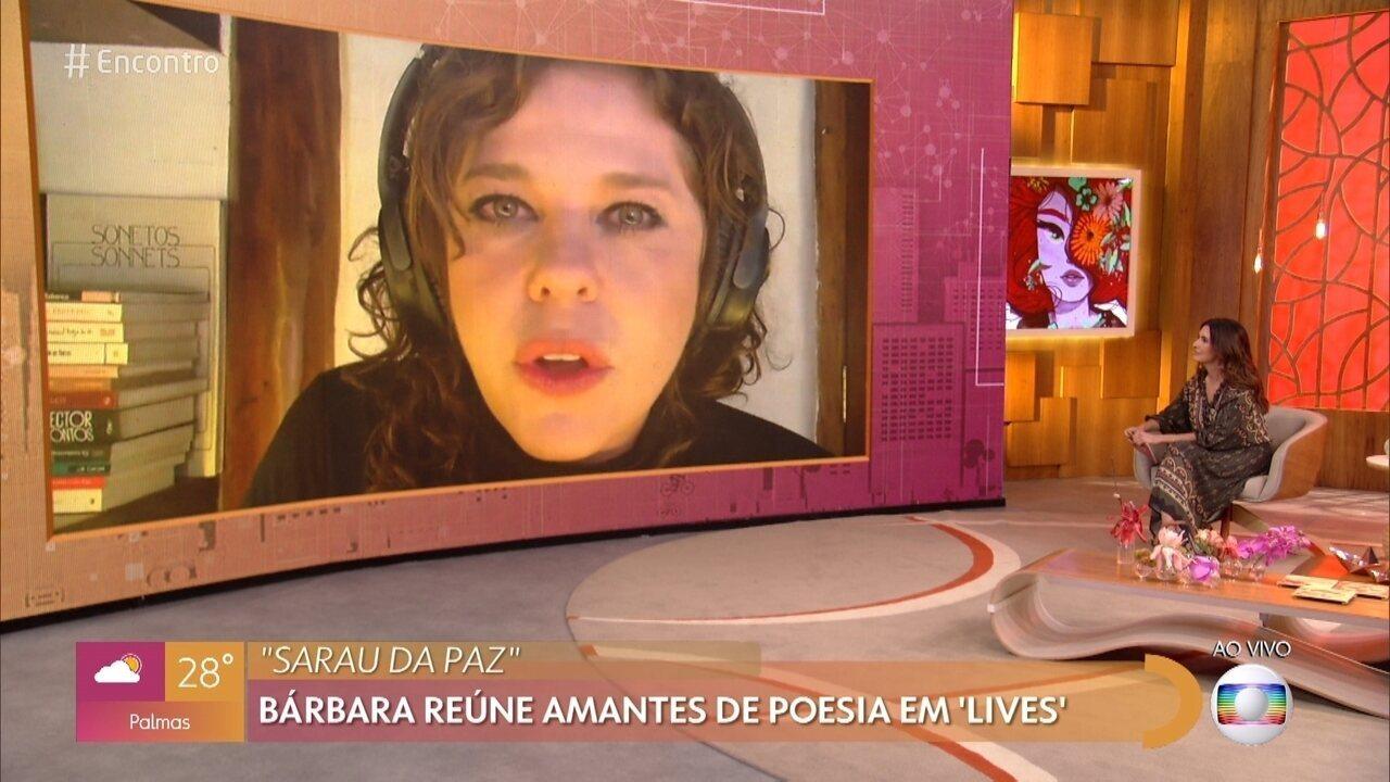 Bárbara Paz reúne amantes de poesia em ´lives´