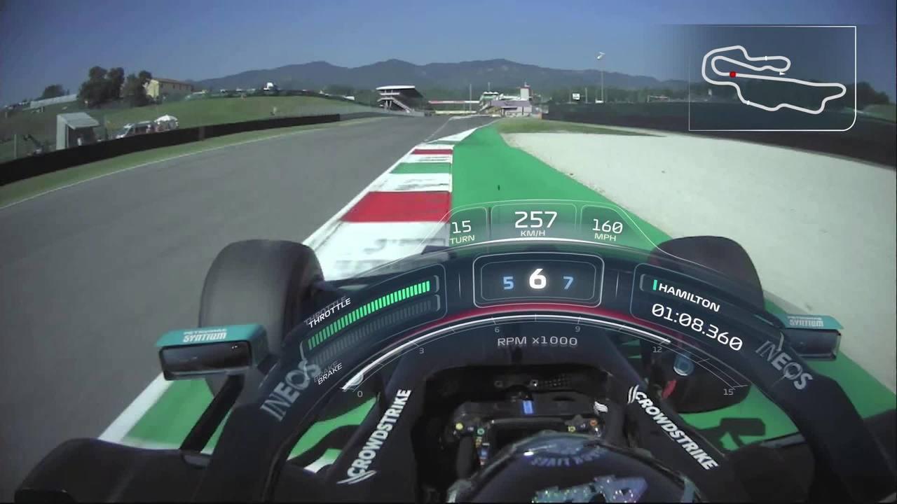 Onboard: a pole de Lewis Hamilton no GP da Toscana, em Mugello
